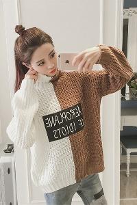 Дамски дебел пуловер тип поло и широк с надпис, в черен и кафяв цвят