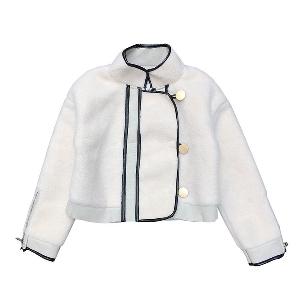 σακάκι Κομψή ευρέως κυρίες λευκό με κουμπιά