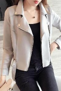 Велурено дамско яке тип Слим в сив цвят с колан