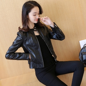 Дамско кожено яке класически модел в черен цвят