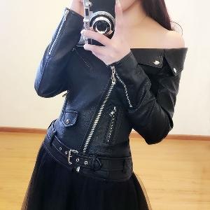 Кожено дамско яке Слим с оголени рамене в класическо черно