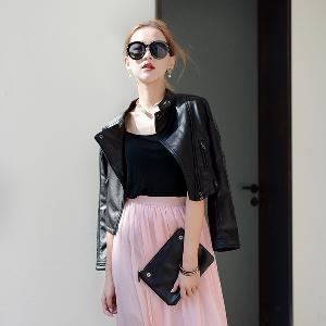 Γυναικεία δερμάτινα μπουφάν Slim βρετανικού στυλ και κλασικό μαύρο