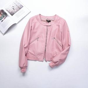 Casual δερμάτινο μπουφάν για τις γυναίκες σε ροζ, μπλε και μαύρο