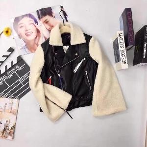 Кожено дамско яке с ръкави от плюш в британски стил