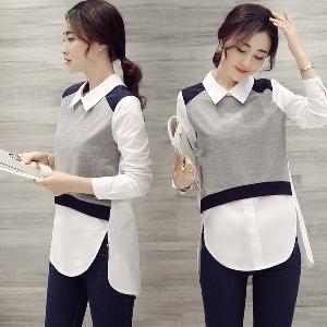 Стилна дамска дълга риза в сив цвят