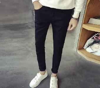 Мъжки дънки тип Слим в черен и син цвят, изчистен модел
