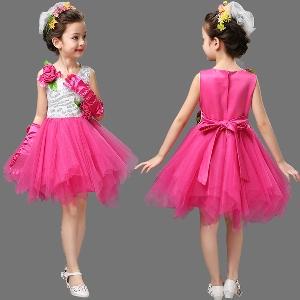 Детска лятна невероятна синя лилава розова жълта цикламена рокля за плаж и ежедневие