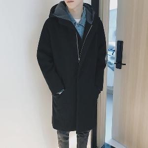 Ανδρικό παλτό με κουκούλα σε γκρι και μαύρο χρώμα. - Badu.gr Ο ... adb7e080602