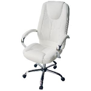 Офис столове с еко-кожа 2 цвята - наличен бял