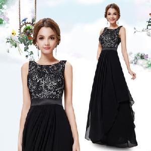 Дамска дълга вечерна шифонена лятна рокля в четири невероятни цветови модела черна, синя, виненочервена