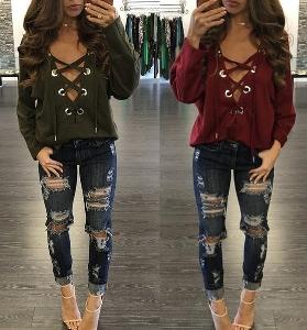 Дамска актуална блуза с връзки в два цвята