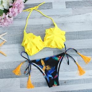Дамски бански жълт и розов с регулиращо се долнище