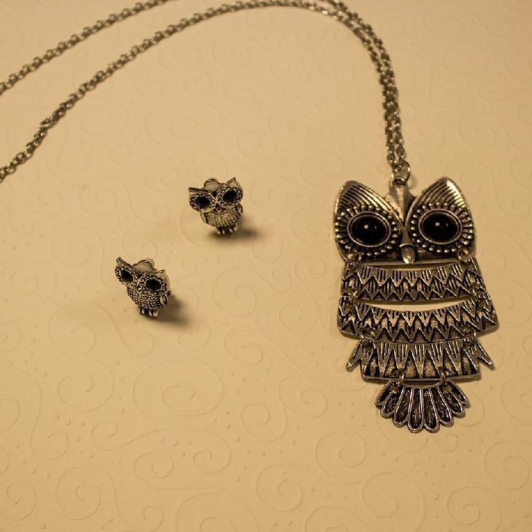 63e05224407 Колие и обеци Owl - Badu.bg - Светът в ръцете ти