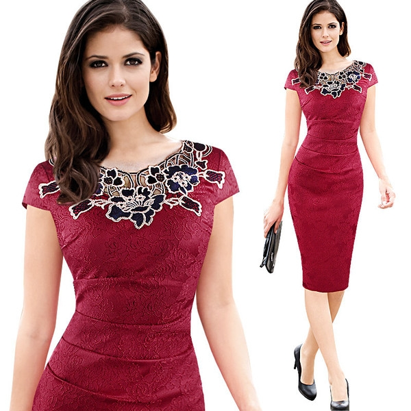 c78170d4b0ab Κυρίες μεσάτο άνοιξη και το καλοκαίρι φόρεμα με δαντέλα τύπου Midi σε διάφορα  χρώματα  κόκκινο