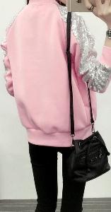 νέα άνοιξη-φθινόπωρο σακάκι ροζ Γυναικών και το μαύρο με λαμπερά παγιέτες μανίκια