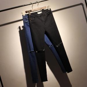 Слим дамски дънки различни модели в синьо и черно