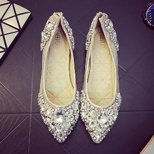 Дамски луксозни обувки с камъни за повод или ежедневие