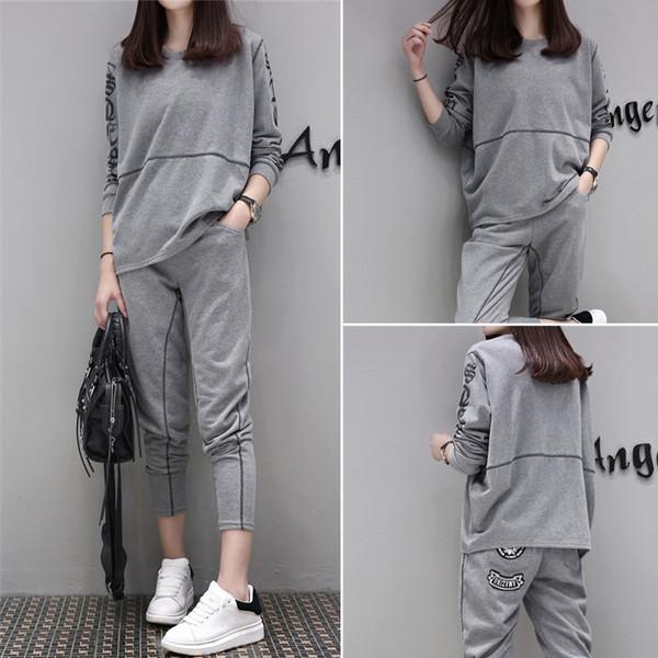 e2dd5b0c42b Спортен дамски комплект от 2 части - широка блуза и 7/8 панталон в сив и  черен цвят - Badu.bg - Светът в ръцете ти