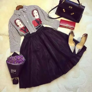 Дамски комплект от стилна риза и дълга разкроена пола в черен цвят  с висока талия