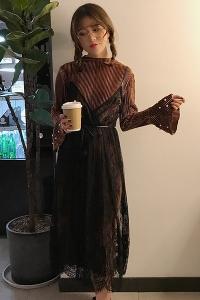 5dd5b4df8aec Κομψό κυρίες μακρύ φόρεμα από δαντέλα μακρύ μανίκι πράσινο
