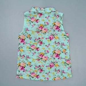 Детски летен комплект за момичета потник на цветя и розови къси панатлони