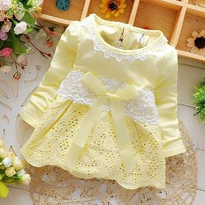 Памучна бебшка рокля с дълъг ръкав с дантела: Бяла, Розова, Жълта, Синя