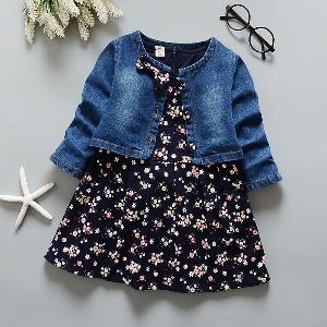 Детски пролетен и есенен комплект за момичета от рокля с флорални мотиви и дънково яке - 2 модела