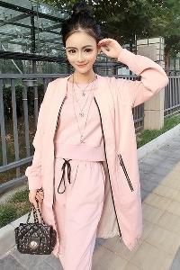 Стилен дамски спортен екип в розов цвят - блуза панталон и яке