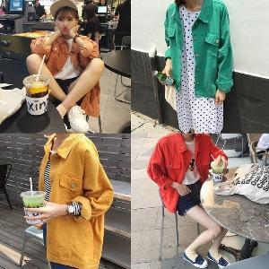 τζιν μπουφάν της Νέας των γυναικών σε διάφορα χρώματα - κίτρινο, καφέ, πράσινο και κόκκινο