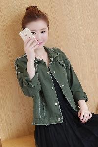Дънково дамско яке с копчета в черен, бежов и тъмнозелен цвят