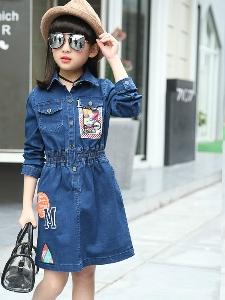 4c19bba7210 Παιδικό τζιν φόρεμα με 3/4 μανίκια και γόνατα γιακά μήκους - Badu.gr ...