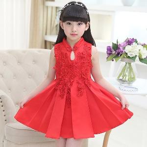 Детска официална рокля за момичета с японски ръкав в червен,бежов, розов, лилав и бял цвят