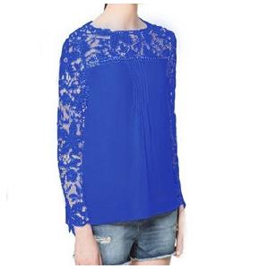 Блуза с дантелени ръкави
