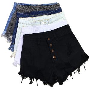 Дънков къс панталон - накъсан и с ресни - 6 цвята