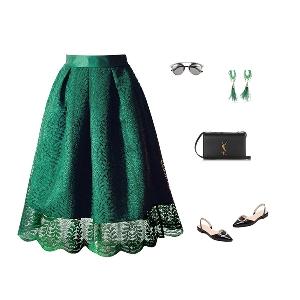 Дантелена ретро пола в черен и зелен цвят