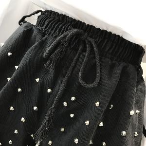 Черен дънков ластичен къс панталон с капси и връзки