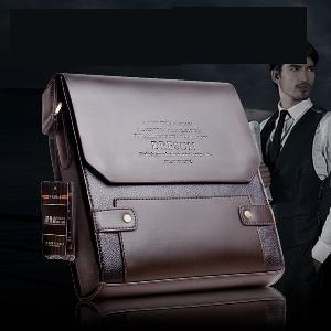 Мъжка тъмнокафява бизнес чанта тип куфарче от еко кожа
