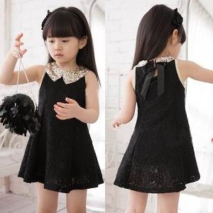 Детска лятна къса официална рокля с дантела: Бяла и Черна