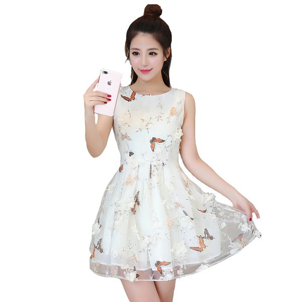 Κυρίες σύντομη φούντωσε φόρεμα λευκό και ροζ πεταλούδες - Badu.gr Ο κόσμος  στα χέρια σου ac7adbbf0c1