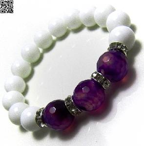 Дамска гривна от естествени камъни Ахат и бял Оникс - DM-2235