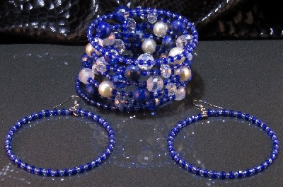 Комплект уникална дамска гривна и обеци от Лазурит - DM-2019