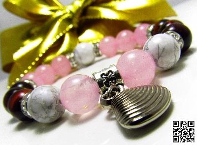 Дамска гривна от естествени камъни Ахат, Розов кварц и Хаулит - DM-2234