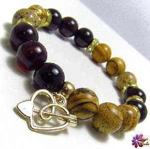 Дамска гривна от естествени камъни Гранат и Яспис - DM-2233
