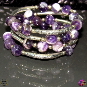 Атрактивна дамска гривна от естествени камъни Аметист - DM-2359