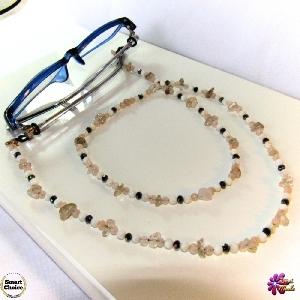 Връзка за очила с естествени камъни Ахат, Седеф и Планински кристал