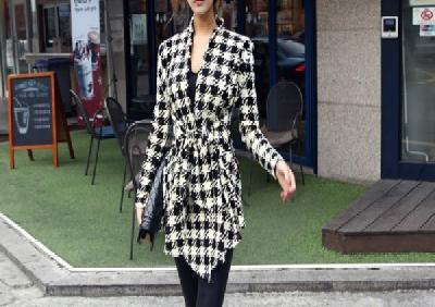 Παλτό κομψό γυναικών Houndstooth Print Jacket