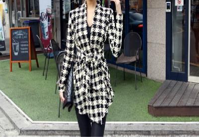 Елегантно дамско палто Houndstooth Print Jacket