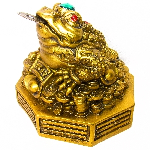 Фън Шуй статуетка - Трикраката жаба на парите и късмета 13 см. FS-4382