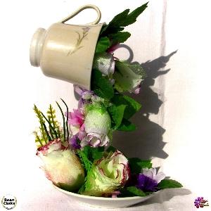 Сувенир - Летяща чаша с цветя - 25 см. Модел DM-9001