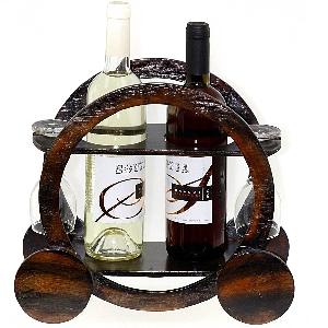 Дървена поставка за вино и чаши - Каляска 30см. Модел W-8002-3392